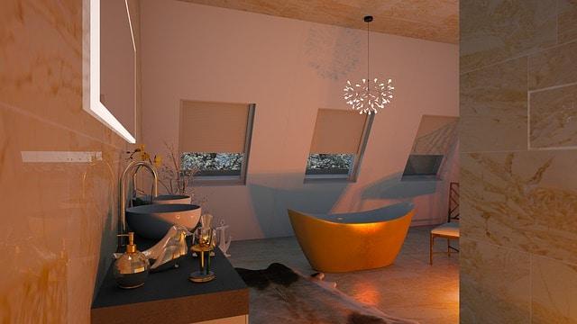 chandelier over bathtub